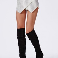 Missguided - Grid Print Skort White