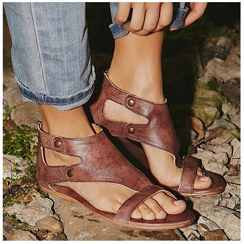 Women Sandals Soft Leather Gladiator Sandals