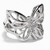 Silver Tone Simulated Crystal Butterfly Ring (Grey)