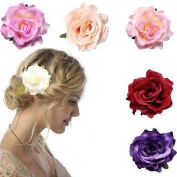 ESB1ON Bridal Large Rose Flower Hair Clip Hairpin  Wedding Bridesmaid Party Accessories 6 Color