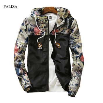 FALIZA New Floral Bomber Jacket Men Hip Hop Flowers Designs Slim Fit Pilot Bomber Jacket Coat Men's Hooded Jackets 5XL JK-I
