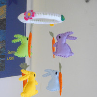 Felt baby mobile. Felt Mobile with colored bunnies and carrots.