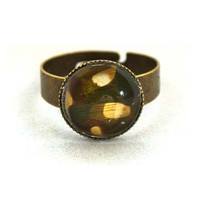 10% SALE - Ring Camouflage Army Military Pattern in Copper Circle Shape