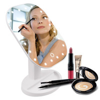 Folding Portable Touch Screen Make Up Mirror With LED Lights Cosmetic Makeup Tool Adjustable Countertop 180 Degree Rotation