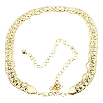 Gold Rhinestone Metal Chain Waist Belt