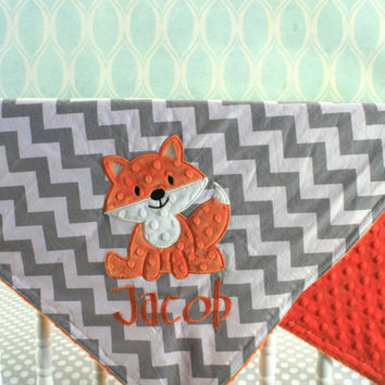 Fox baby Blanket - Fox applique and Name Included  - You pick Fabrics and Colors