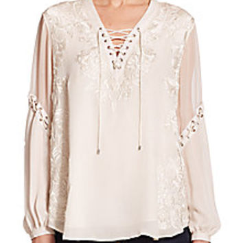 Haute Hippie - Lace-Up Embroidered Silk Blouse - Saks Fifth Avenue Mobile