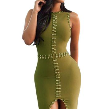 Chicloth Gold Metal Embellished Detail Olive Bandage Dress