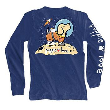 Long Sleeve Space Pup Tee in Navy by Puppie Love