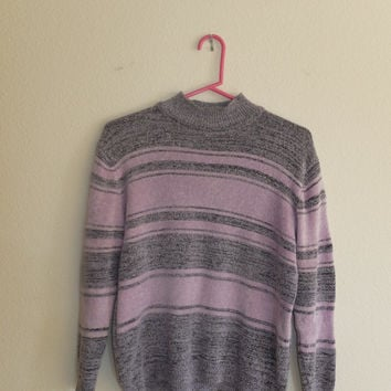 Purple Mod Neck Vintage Velour Sweater Size Small