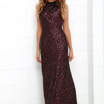 Dress the Population Veronica Black and Red Sequin Maxi Dress