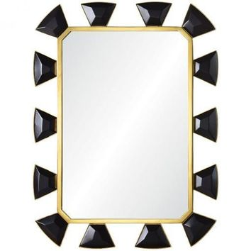 Black Leather & Burnished Brass Mirror by Celerie Kemble