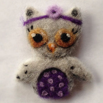 "Custom Needle Felted Owl Brooch ""Hipster Hoot"" Wool Art Needlefelt Felting"