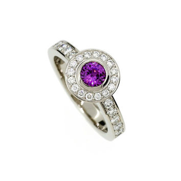Amethyst halo engagement ring made from white gold, diamond, bezel, solitaire, unique, purple engagement, amethyst solitaire, violet halo