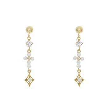 Pearl Cross Duchess Earrings