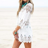 Mini White Dress -  Half Sleeve - Floral Lace
