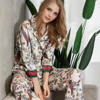 Gucci Women Silk Satin Print Pattern Robe Sleepwear Loungewear Set Two-Piece