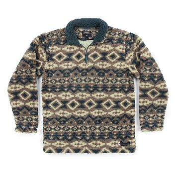 Appalachian Peak Sherpa Pullover in Tan and Navy by Southern Marsh - FINAL SALE