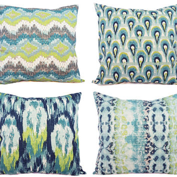 Two Throw Pillow Covers Blue and Green Ikat - 18 x 18 Inch Decorative Pillow - Blue Ikat Pillow - Green Ikat Pillow - Ikat Pillow Covers