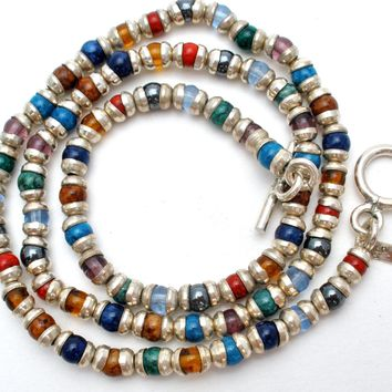 """Multi Color Bead Bead Necklace Sterling Silver 17"""""""