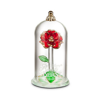 Disney Beauty and the Beast Enchanted Rose Glass Sculpture by Arribas Small