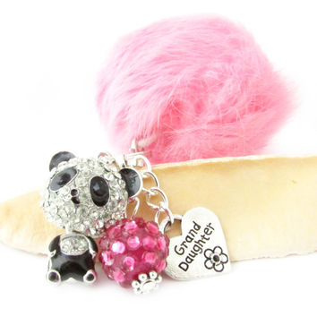 Pink Pom Panda Keychain with Grand Daughter Charm