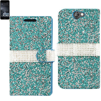 BLING Diamond Flip Case HTC One A9 BLUE