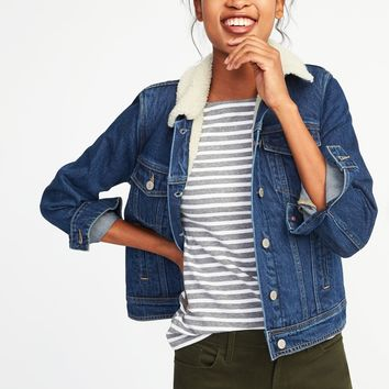 Sherpa-Lined Denim Jacket for Women | Old Navy