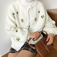 Flower Embroidered Knitted Cardigan (3 colours)