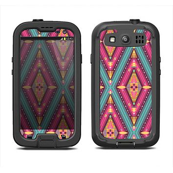 The Pink & Teal Abstract Mirrored Design Samsung Galaxy S4 LifeProof Fre Case Skin Set