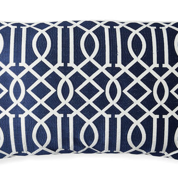 Jax 14x24 Embroidered Pillow, Navy, Decorative Pillows