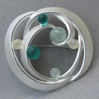 1960's Vintage Pin Space Age Modernist Pale Silver Tone Aqua Green Crackle Glass Bead BIG Brooch