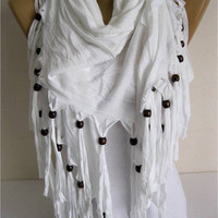 White  Scarf-Cotton Scarf Shawls-Scarves-gift Ideas For Her Women's Scarves-christmas gift- for her -Fashion accessories