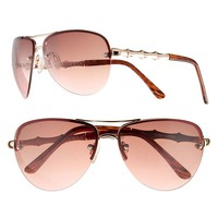 Dana Buchman Faux-Bamboo Aviator Sunglasses - Women (Brown)