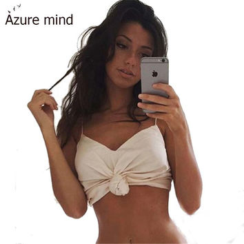Top fashion sexy summer camis spaghetti strap v neck women crop tops red beige solid backless halter beach women clothing