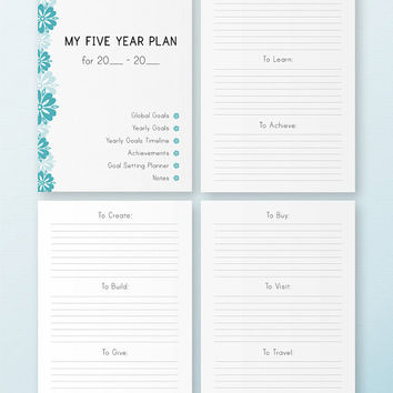 Five YEAR Plan A4 Size Printable Filofax inserts Health Relationship Business Self development Five Years Plan Instant download 18 PAGES