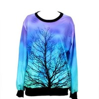 New Fashion Women Loose Moon Tree Digital Printed Galaxy Sweatshirt Crewneck Pullover Hoodies Sweaters