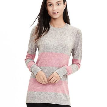 Banana Republic Womens Italian Cashmere Blend Birdseye Stripe Sweater Pullover
