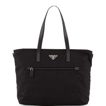 Vela Zip-Front Tote Bag, Black (Nero) - Prada