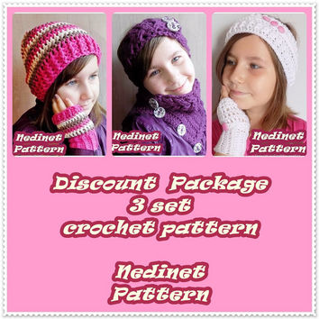 CROCHET PATTERN Discount sets pattern , crochet hat pattern, crochet headband pattern, crochet scarf pattern, Pdf Pattern, child to adult