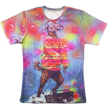 Trippy Party Goat Tie Dyed 3d T-Shirt Psychedelic Tee Shirt