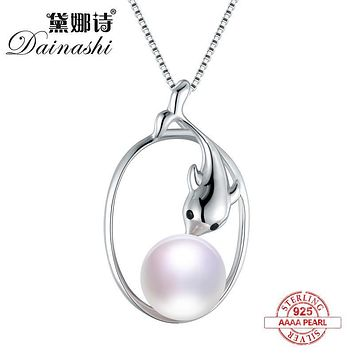Dainashi 2017 New dolphin pearl pendants AAAA Natural freshwater pearls 925 Sterling silver accessories Fine Jewelry