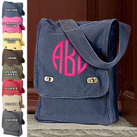 Monogram Messenger Canvas Cross-body bag Purse  Font shown NATURAL CIRCLE in bright pink