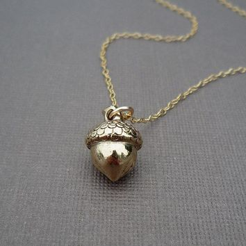 golden or silver acorn necklace