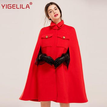 YIGELILA Latest Autumn Women Vintage Turtleneck Batwing Sleeve Covered Button Red Wool Cape Coat Poncho Cloak 94750