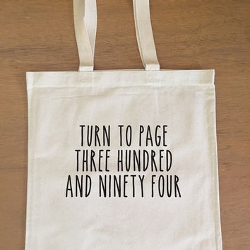 Harry Potter Tote Bag - Snape - Turn to Page Three Hundred and Ninety-Four