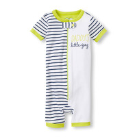 Baby And Toddler Boys Short Sleeve 'Daddy's Little Guy' Stripe Split Print Cropped Stretchie | The Children's Place