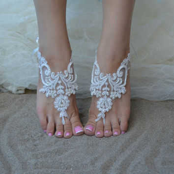 barefoot sandals, white Beach wedding shoes, bangle beach anklets, barefoot sandals, bridal bride bridesmaid, Free ship