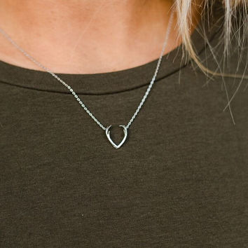 Mini Antler Charm Necklace In Silver
