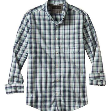 Banana Republic Factory Soft Wash Slim Fit Green/Blue Plaid Shirt
